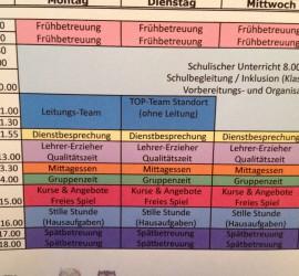 Wochenplan der Schule auf der Uhlenhorst
