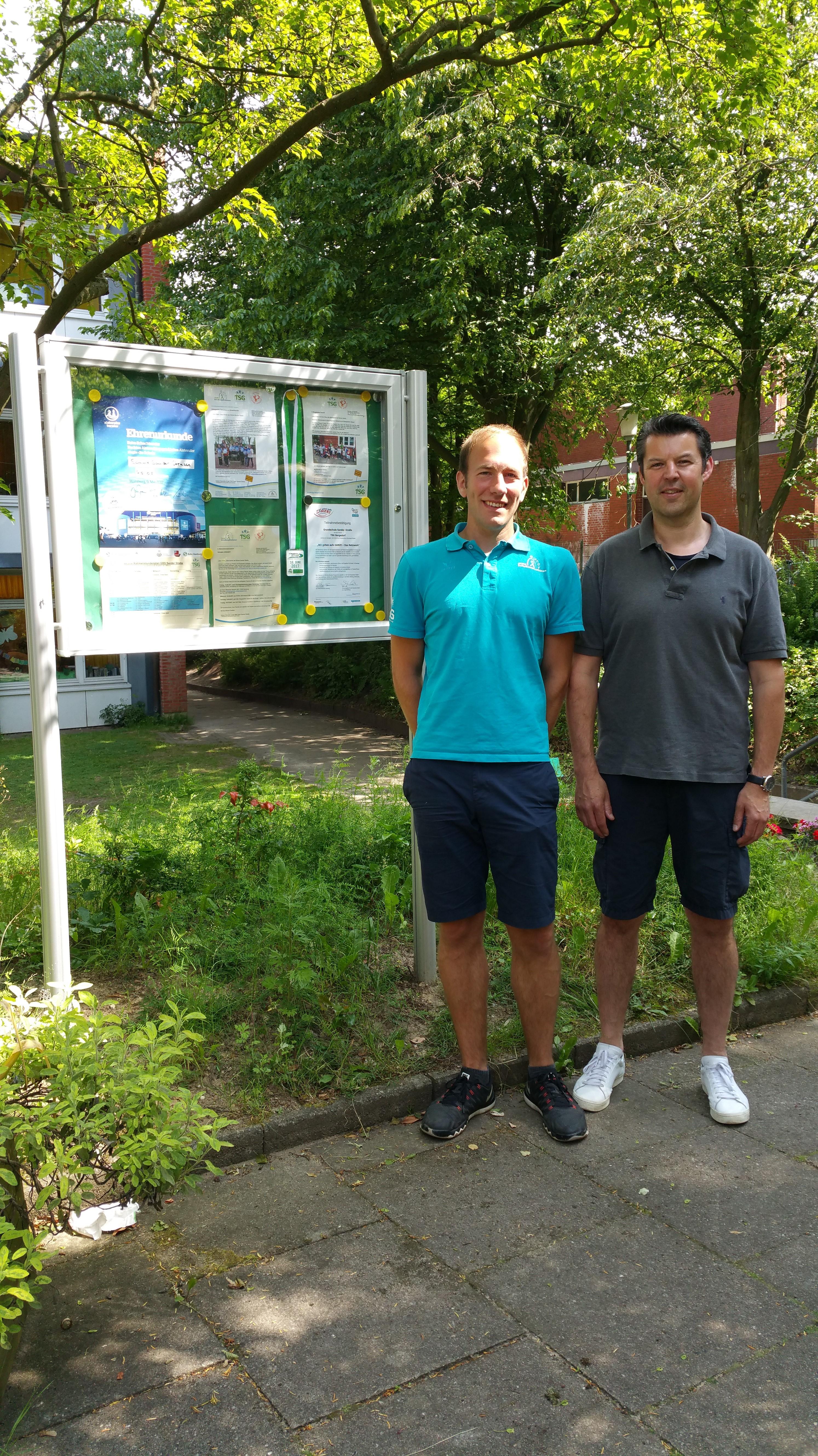 GBS-Team Grundschule Sanderstraße: Marco Fritzler, Ganztagskoordinator und Gisbert Benecke vom TSG